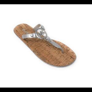 Michael Kors Gray & Silvertone Jelly Sandals SZ 9